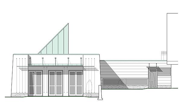 Ritning av fasaden av Yukie Haus, arkitekt Lars Asklund